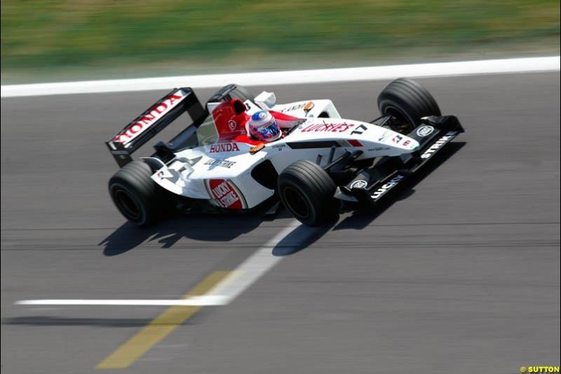 Jenson Button, BAR. Friday, Spanish Grand Prix at the Circuit de Catalunya. Barcelona, Spain. May 2nd 2003.
