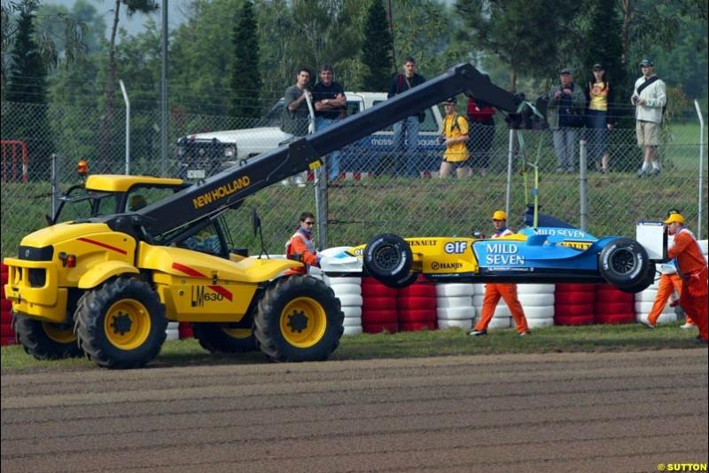 Fernando Alonso's Renault. Friday, Spanish Grand Prix at the Circuit de Catalunya. Barcelona, Spain. May 2nd 2003.