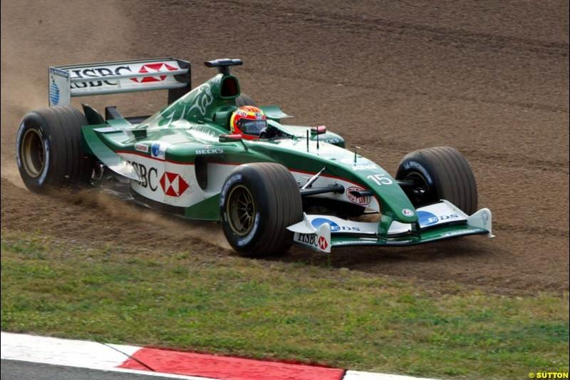 Antonio Pizzonia, Jaguar. Friday, Spanish Grand Prix at the Circuit de Catalunya. Barcelona, Spain. May 2nd 2003.