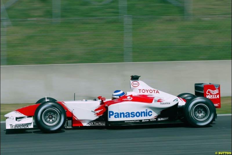 Olivier Panis, Toyota. Friday, Spanish Grand Prix at the Circuit de Catalunya. Barcelona, Spain. May 2nd 2003.
