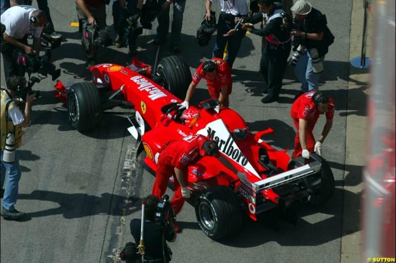 Michael Schumacher, Ferrari. Friday, Spanish Grand Prix at the Circuit de Catalunya. Barcelona, Spain. May 2nd 2003.
