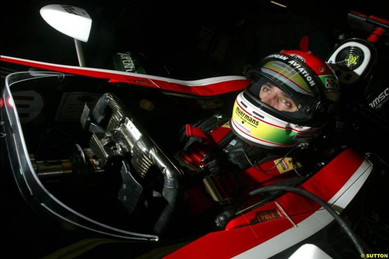 Justin Wilson, Minardi. Friday morning testing, Circuit de Catalunya. Barcelona, Spain. May 2nd 2003.
