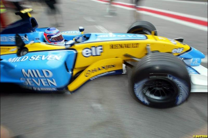 Jarno Trulli, Renault. Friday morning testing, Circuit de Catalunya. Barcelona, Spain. May 2nd 2003.