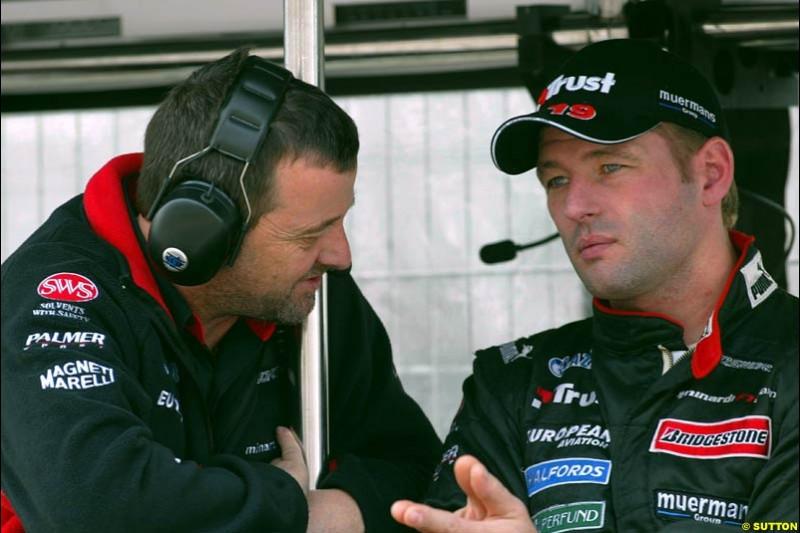 Paul Stoddart and Jos Verstappen, Minardi. Friday morning testing, Circuit de Catalunya. Barcelona, Spain. May 2nd 2003.