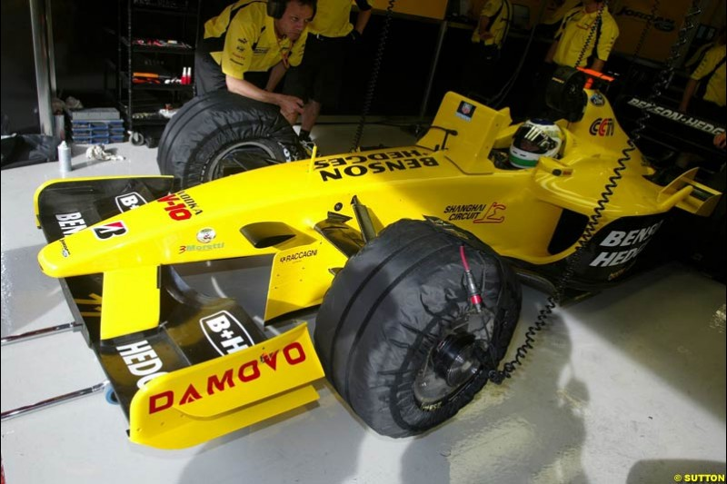 Giancarlo Fisichella, Jordan. Friday morning testing, Circuit de Catalunya. Barcelona, Spain. May 2nd 2003.