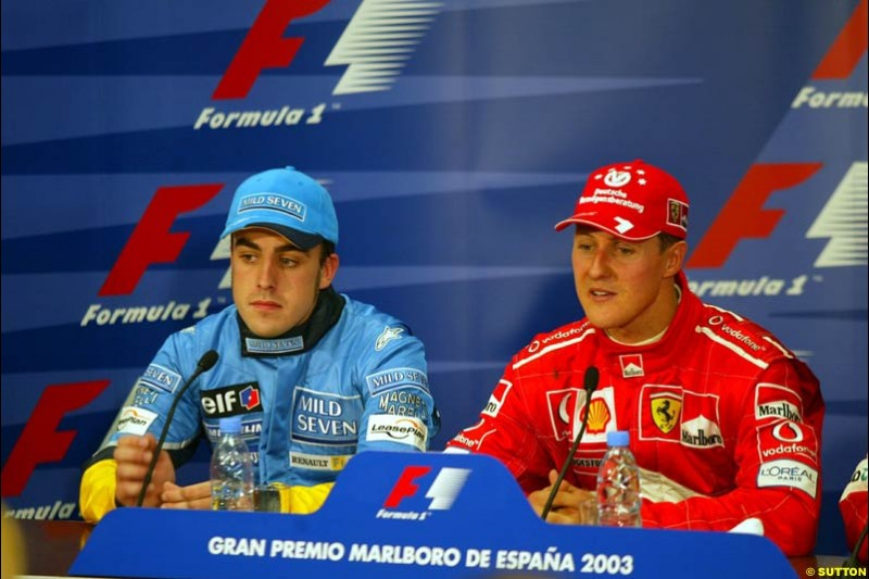The post race press conference. 1st, Michael Schumacher, Ferrari. 2nd, Fernando Alonso, Renault. Spanish Grand Prix. Circuit de Catalunya, Barcelona, Spain. May 4th 2003.