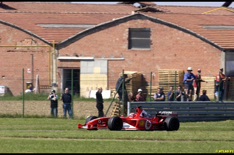 Michael Schumacher, Ferrari F2003-GA, during testing at the Fiorano circuit in Italy. 22nd May, 2003.