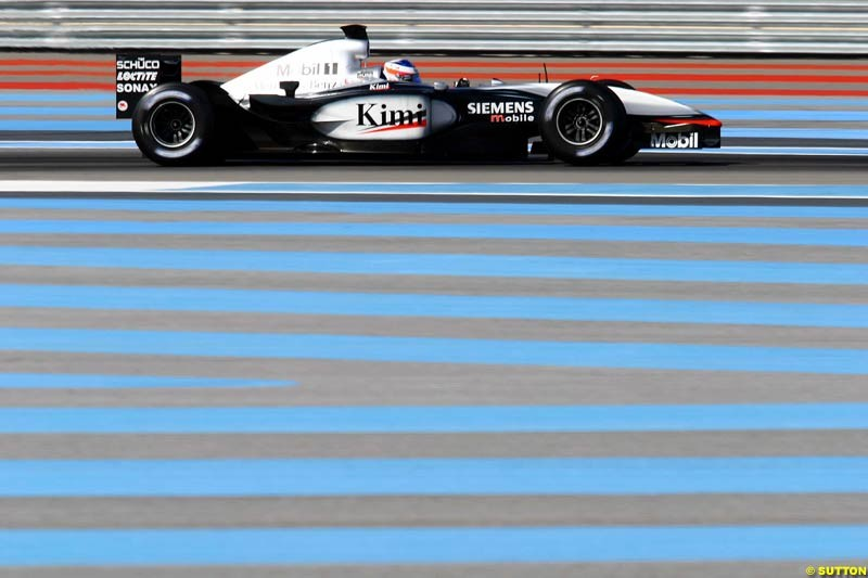 Kimi Raikkonen, McLaren, during testing at the Paul Ricard circuit in Le Castellet, France. 22nd May, 2003.