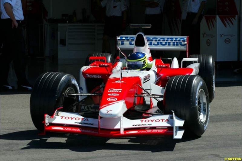 Cristiano da Matta, Toyota, during testing at the Paul Ricard circuit in Le Castellet, France. 22nd May, 2003.