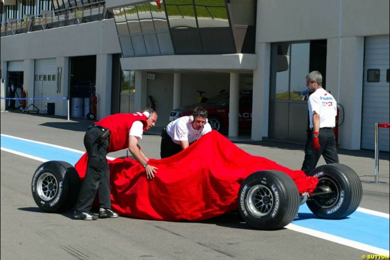 A Toyota during testing at the Paul Ricard circuit in Le Castellet, France. 22nd May, 2003.