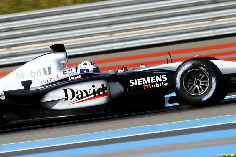 David Coulthard, McLaren, during testing at the Paul Ricard circuit in Le Castellet, France. 22nd May, 2003.