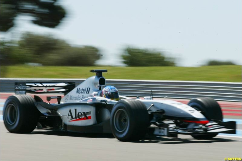 Alex Wurz, McLaren, during testing at the Paul Ricard circuit in France. 20th May, 2003.
