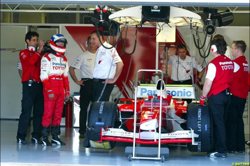 Olivier Panis, Toyota, during testing at the Paul Ricard circuit in France. 20th May, 2003.