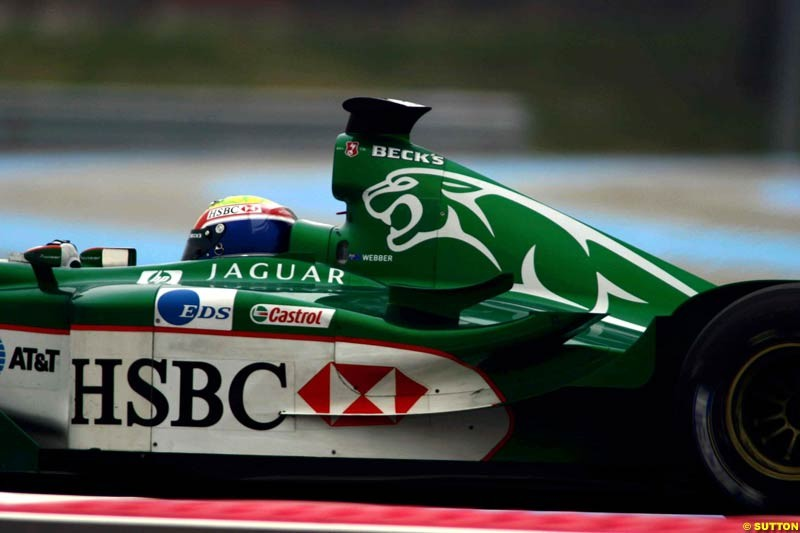 Mark Webber, Jaguar. Testing at Paul Ricard, France. May 7th 2003.