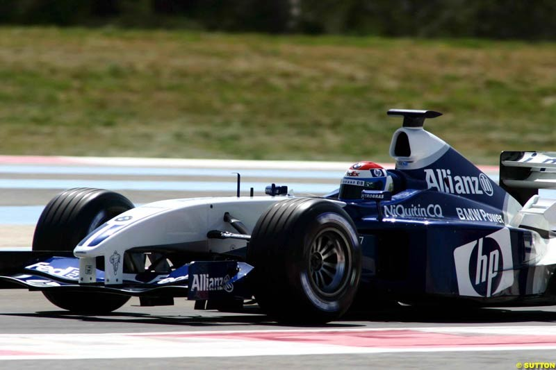 Marc Gene, Williams. Testing at Paul Ricard, France. May 6th 2003.
