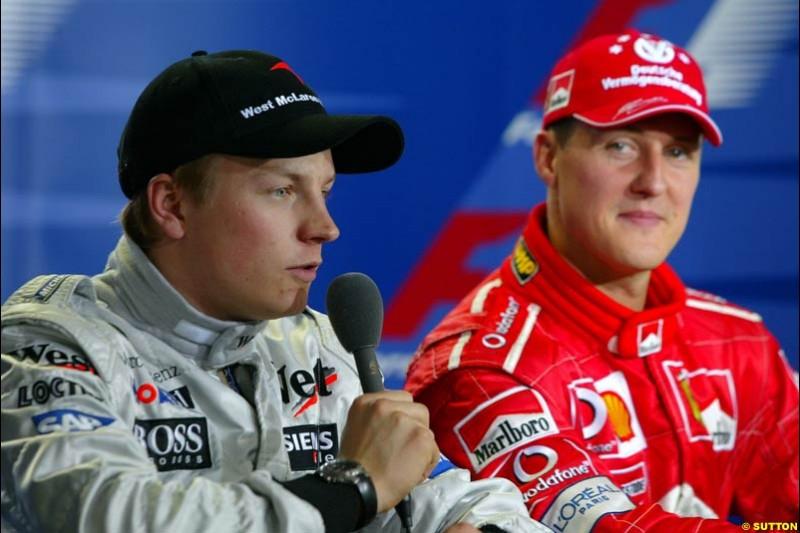 The Post Qualifying Press Conference. 1st, Michael Schumacher, Ferrari; 2nd, Kimi Raikkonen, McLaren (talking). Austrian Grand Prix. A1-Ring, Spielberg, Austria. May 17th 2003.
