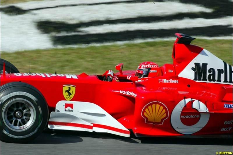 Michael Schumacher, Ferrari, during qualifying for the Austrian Grand Prix. A1-Ring, Spielberg, Austria. May 17th 2003.