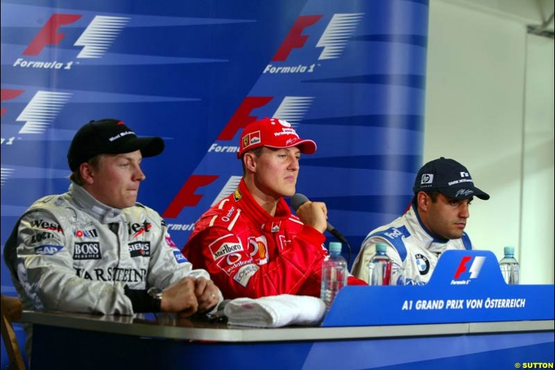 The Post Qualifying Press Conference. 1st, Michael Schumacher, Ferrari; 2nd, Kimi Raikkonen, McLaren; 3rd, Juan Pablo Montoya, Williams. Austrian Grand Prix. A1-Ring, Spielberg, Austria. May 17th 2003.