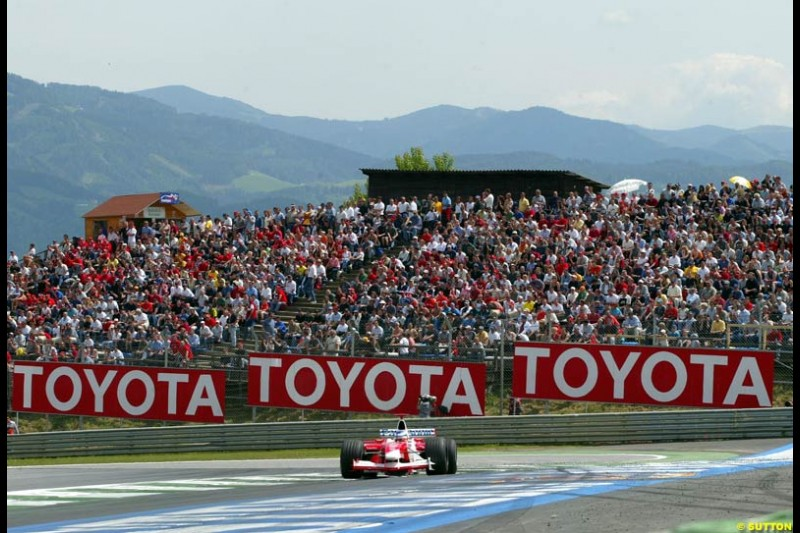 Olivier Panis, Toyota, during qualifying for the Austrian Grand Prix. A1-Ring, Spielberg, Austria. May 17th 2003.
