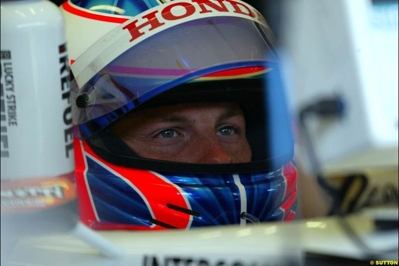 Jenson Button, BAR, during qualifying for the Austrian Grand Prix. A1-Ring, Spielberg, Austria. May 17th 2003.