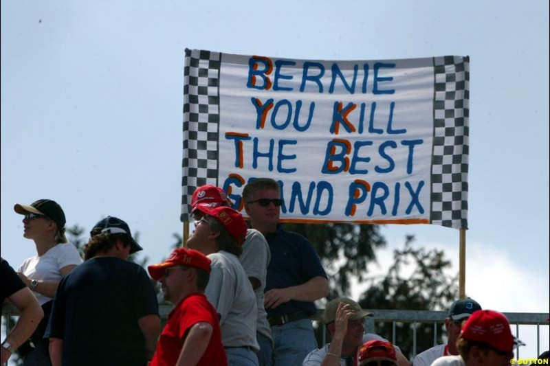Fans show their anger at the removal of Austria from the Formula One Calendar during qualifying for the Austrian Grand Prix. A1-Ring, Spielberg, Austria. May 17th 2003.