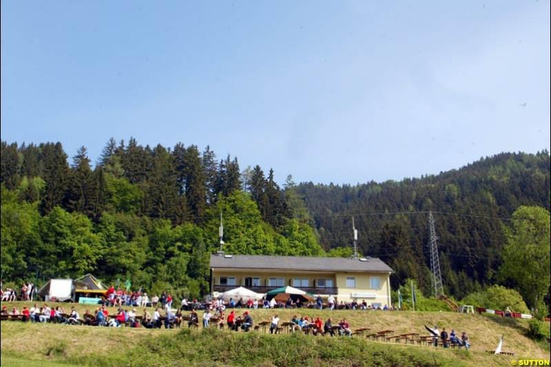 A hilltop bar. Austrian Grand Prix. A1-Ring, Spielberg, Austria. May 17th 2003.