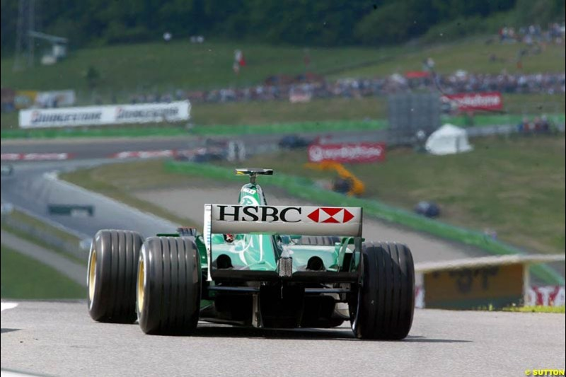 Jaguar during qualifying for the Austrian Grand Prix. A1-Ring, Spielberg, Austria. May 17th 2003.