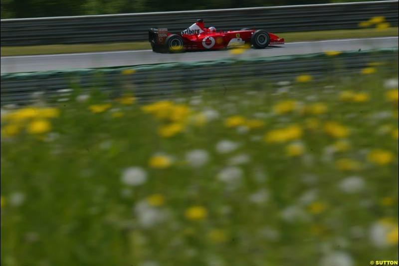 Rubens Barrichello, Ferrari, during qualifying for the Austrian Grand Prix. A1-Ring, Spielberg, Austria. May 17th 2003.