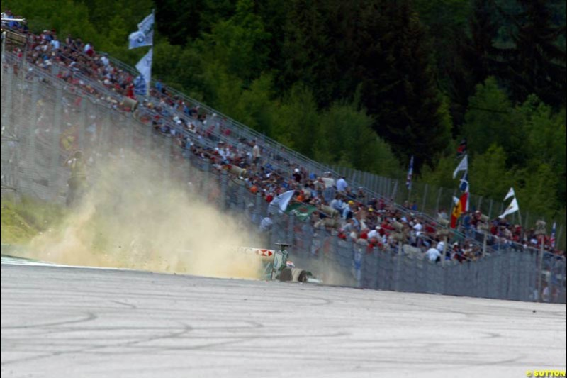 Mark Webber, Jaguar, during qualifying for the Austrian Grand Prix. A1-Ring, Spielberg, Austria. May 17th 2003.