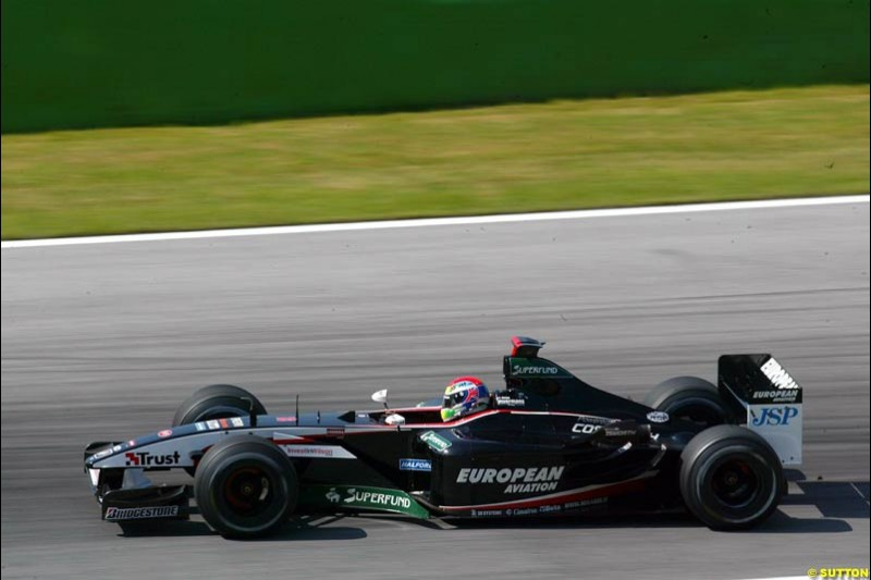 Justin Wilson, Minardi, during qualifying for the Austrian Grand Prix. A1-Ring, Spielberg, Austria. May 17th 2003.