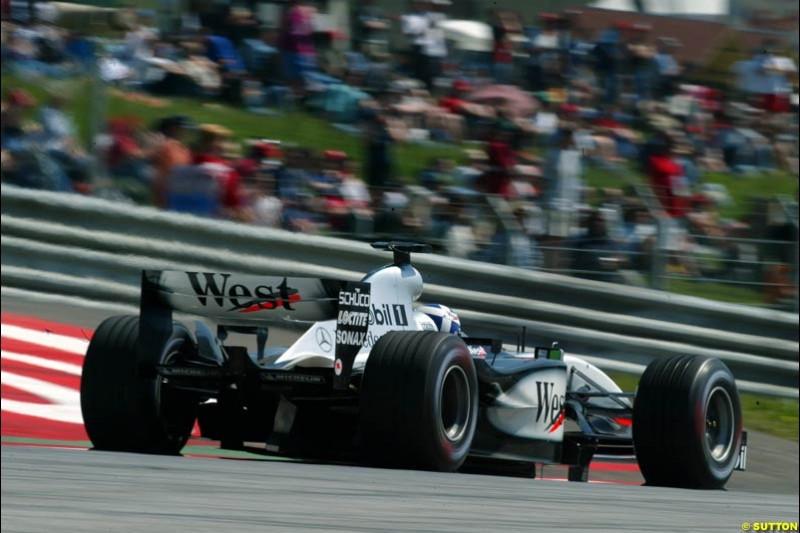 David Coulthard, McLaren. Austrian Grand Prix. A1-Ring, Spielberg, Austria. May 17th 2003.