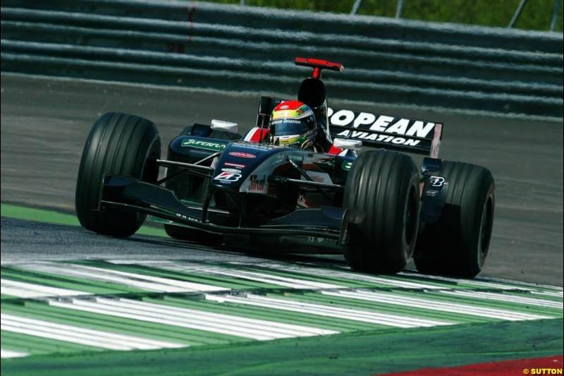 Justin Wilson, Minardi. Austrian Grand Prix. A1-Ring, Spielberg, Austria. May 17th 2003.