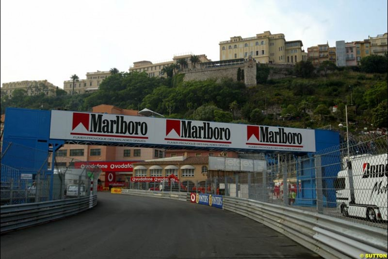 Changes to the Monaco Grand Prix layout: the new, faster entry to La Rascasse. May 28th 2003.