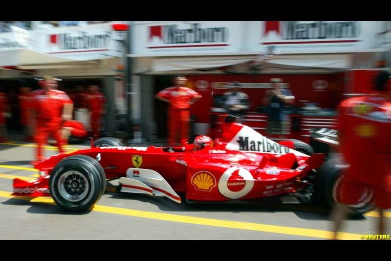 Michael Schumacher, Ferrari. Thursday, Monaco Grand Prix. Monte Carlo, May 29th 2003.