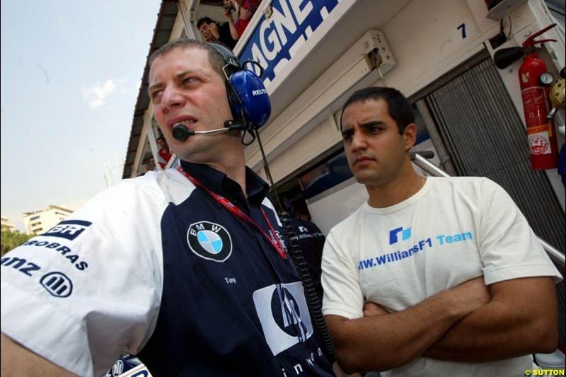 Juan Pablo Montoya, Williams. Thursday, Monaco Grand Prix. Monte Carlo, May 29th 2003.