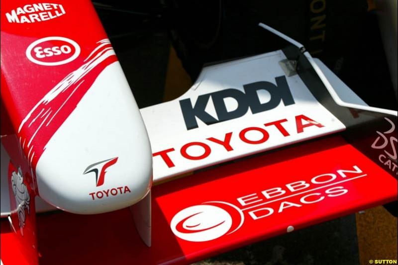 Toyota front wing. Thursday, Monaco Grand Prix. Monte Carlo, May 29th 2003.