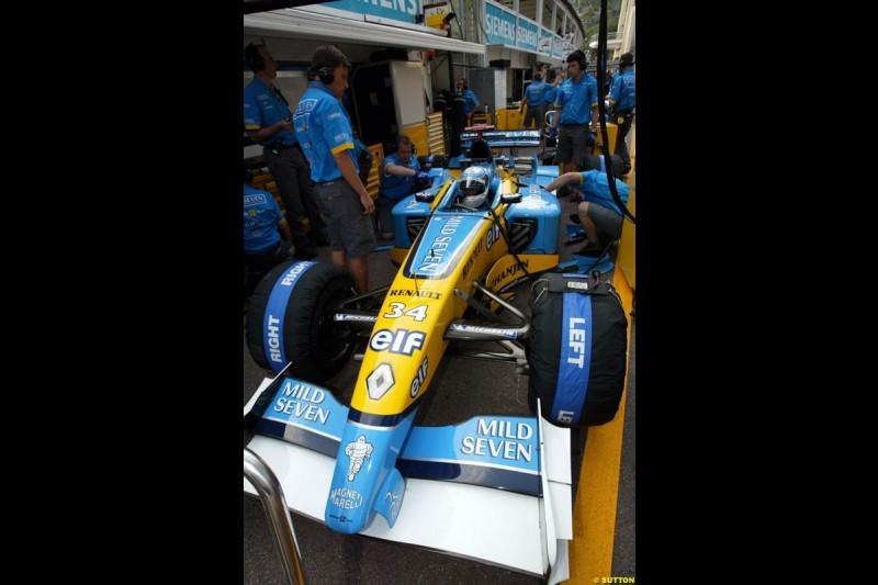 Renault. Thursday practice, Monaco Grand Prix. Monte Carlo, May 29th 2003.