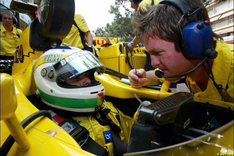 Giancarlo Fisichella, Jordan. Thursday practice, Monaco Grand Prix. Monte Carlo, May 29th 2003.