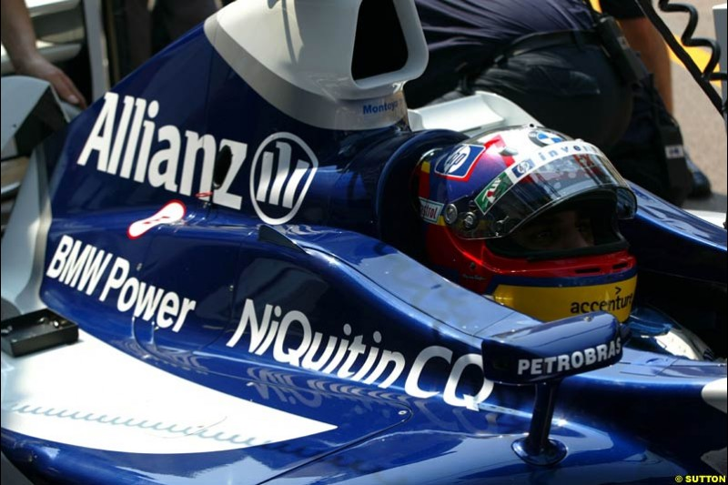 Juan Pablo Montoya, Williams. Thursday practice, Monaco Grand Prix. Monte Carlo, May 29th 2003.