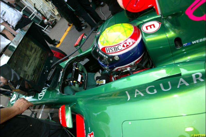 Mark Webber, Jaguar. Thursday practice, Monaco Grand Prix. Monte Carlo, May 29th 2003.