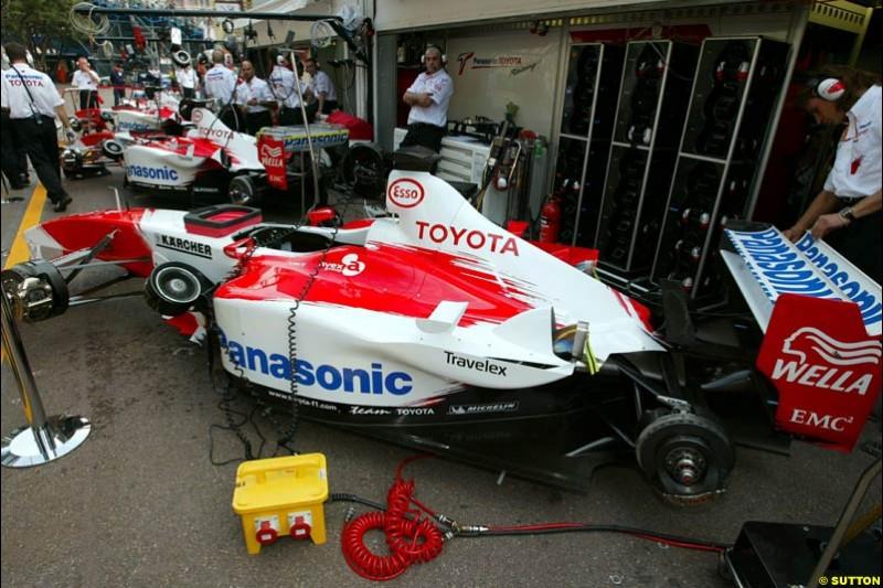 Toyota. Thursday practice, Monaco Grand Prix. Monte Carlo, May 29th 2003.
