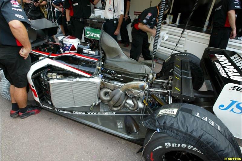 Cosworth engine at the back of a Minardi. Thursday practice, Monaco Grand Prix. Monte Carlo, May 29th 2003.