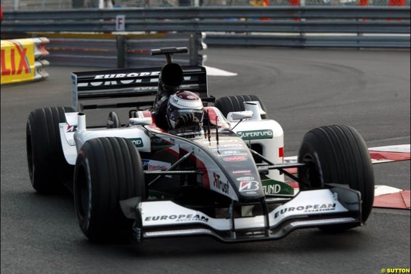 Jos Verstappen, Minardi. Thursday practice, Monaco Grand Prix. Monte Carlo, May 29th 2003.