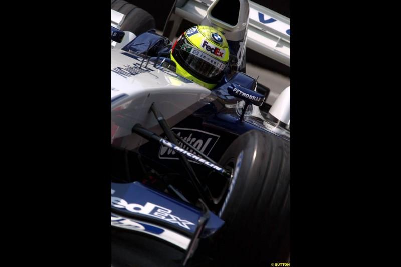 Ralf Schumacher, Williams. Thursday practice, Monaco Grand Prix. Monte Carlo, May 29th 2003.