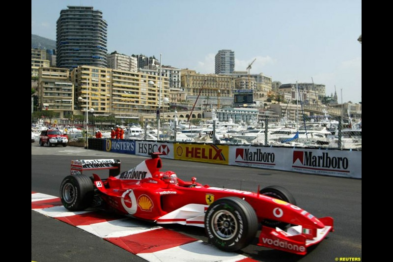 Michael Schumacher, Ferrari. Thursday practice, Monaco Grand Prix. Monte Carlo, May 29th 2003.