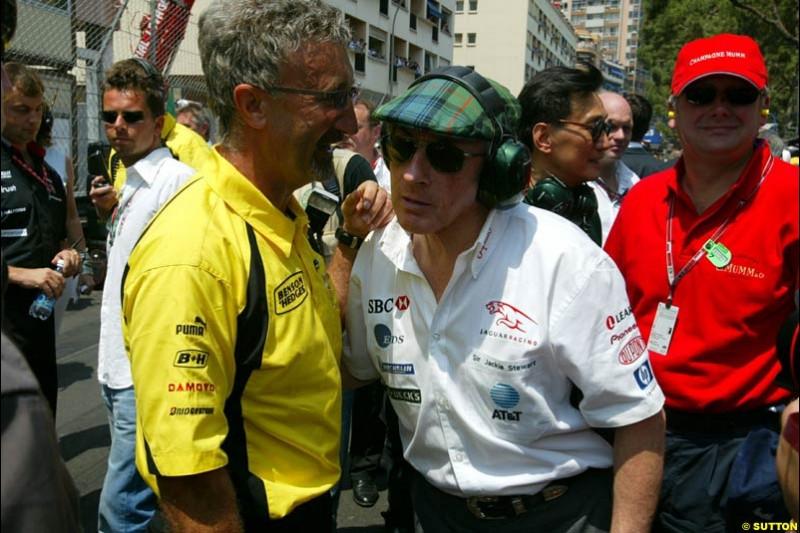 Eddie Jordan and Jackie Stewart. Monaco Grand Prix, Sunday, June 1st 2003.