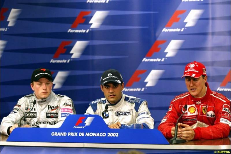 Post-race press conference. Monaco Grand Prix, Sunday, June 1st 2003.