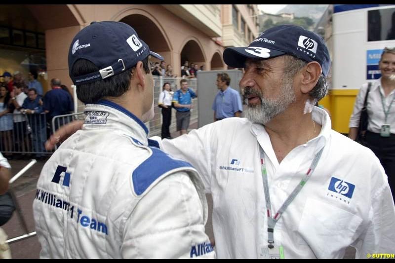 Montoya Senior congratulates his son. Monaco Grand Prix, Sunday, June 1st 2003.