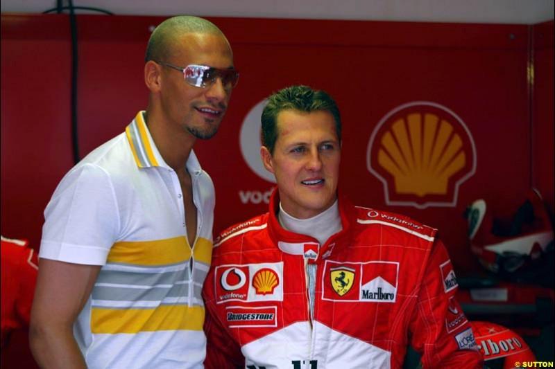 Rio Ferdinand and Michael Schumacher. Monaco Grand Prix, Sunday, June 1st 2003.