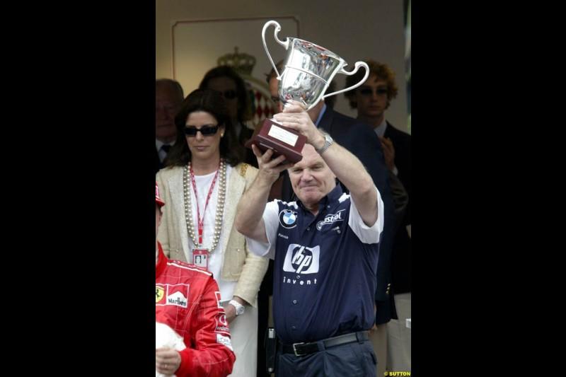 Patrick Head, Williams Technical Director, celebrates the team victory. Monaco Grand Prix, Sunday, June 1st 2003.